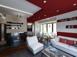 Kuchnia z salonem i klatką schodową w stylu nowoczesnym