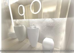 Łazienka z białym betonem