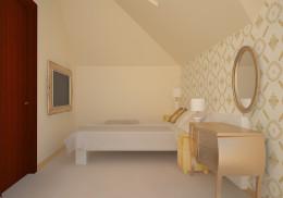 Projekt Salonu 40m2 i małej sypialni ze skosem.