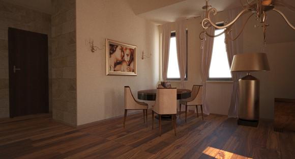 Projekt Salonu 40m2 I Małej Sypialni Ze Skosem Magdalena