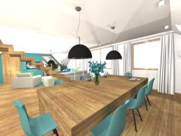 Kuchnia, Jadalnia ze stołem bilardowym i salon