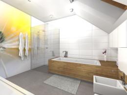 Łazienki na poddaszu w domu jednorodzinnym