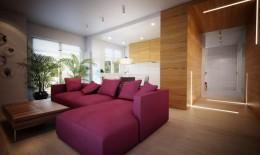Mieszkanie ze śliwkową sofą