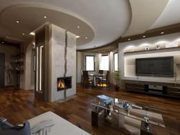 Salony w stylu nowoczesnym z otwartą kuchnia i hallem
