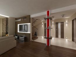 Salon z otwartą kuchnia w stylu nowoczesnym