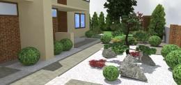 Ogród z elementami stylu japońskiego