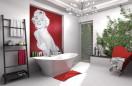 Pokój kąpielowy z twarzą Marilyn Monroe.