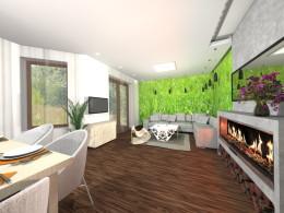 salon i kuchnia w zieleni