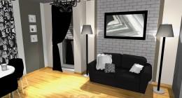 Projekt pokoju 20 m-  mieszkanie w bloku