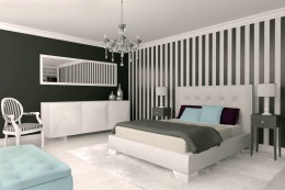 Neobarokowa i monochromatyczna sypialnia