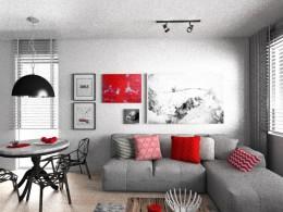 mieszkanie z czerwonymi akcentami