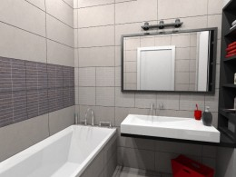 Łazienka w mieszkaniu z czerwonymi akcentami