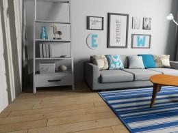 Salon w mieszkaniu w stylu skandynawskim