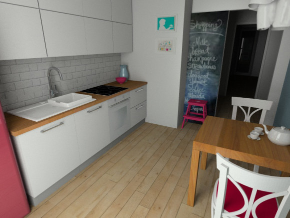 Kuchnia w mieszkaniu w stylu skandynawskim  Pracownia   -> Kuchnia Z Obrazem