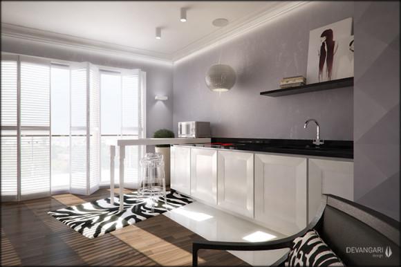 Elegancka kuchnia bizneswomen  Devangari Design  e   -> Kuchnia Z Obrazem