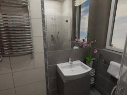 mała, szara łazienka w bloku
