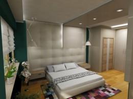 sypialnia z gabinetem otwartym apartament Warszawa