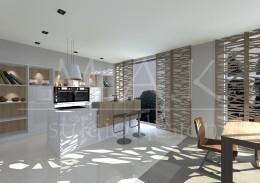 Projekt domu jednorodzinnego we Wrocławiu - kuchnia , salon