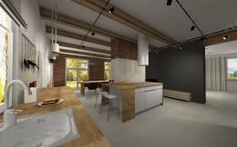 Salon z kuchnią ze skandynawsko-loftowym charakterem