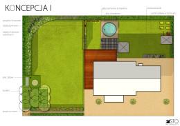 Projekt ogrodu z basenem w wersji z brzozowym boskietem.