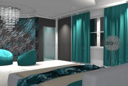 turkusowa sypialnia