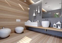 Łazienka beton-drewno