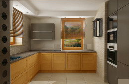 kuchnia, jadalnia i salon - ciepłe barwy