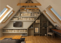 biblioteczka i gabinet na poddaszu