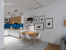 Kuchnia i salon niebieskimi akcentami