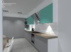 Turkusowy salon z kuchnią