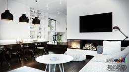 Projekt pokoju dziennego z jadalnią w domu jednorodzinnym