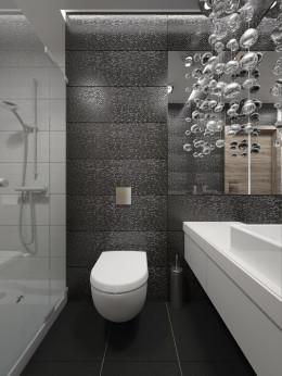 Czarno-biała łazienka z eleganckim akcentem