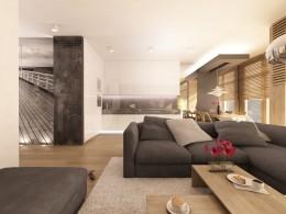 aranżacja wnętrza salonu, łazienki i sypialni