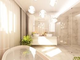projekt wnętrz domu: łazienka, jadalnia, sypialnia, hol