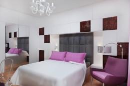 Sypialnia z zabudową z czeczoty