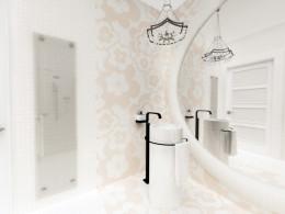 Łazienka dla gości w stylu glamour, dom jednorodzinny Łódź