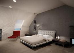 Sypialnia z garderobą z luster, dom jednorodzinny Łódź