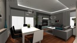 Szary salon z aneksem kuchennym
