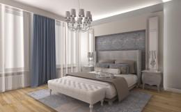 Sypialnia z dodatkiem niebieskiego