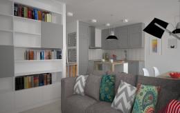 Salon i otwarta kuchnia skandynawski styl
