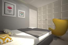 Sypialnia z żółtymi detalami
