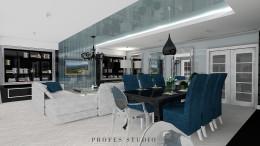 Salon z taflą szklaną Warszawa