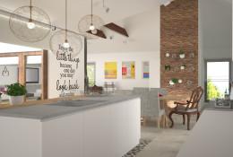 Kuchnia otwarta w domu w Łodzi