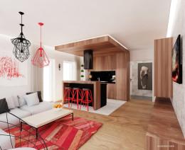 Salon w czerni i czerwieni
