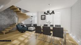 Dwupoziomowe mieszkanie w Krakowie - salon z kuchnią