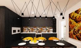 Projekt salonu i kuchni w Villa lux w Dąbrowie Górniczej