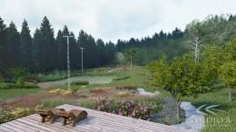 Duży wiejski ogród
