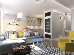 Projekt salonu i kuchni w Darłowie