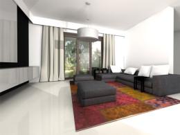 Przestrzeń kuchni i salonu w domu jednorodzinnym