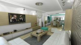 Morski salon w domu w Warszawie